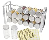 ESYLIFE Counter Spice Rack Stand Holder with 18 Empty Glass Bottle, Chrome