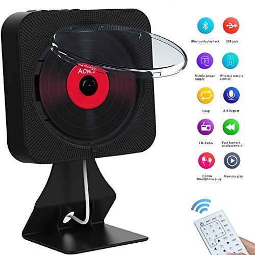 AONCO DVD Player, Tragbare Bluetooth Wandmontage DVD / CD Player mit Fernbedienung FM Radio Built-in HiFi-Lautsprecher Kopfhörerbuchse USB / Aux-Eingang Ausgang, HDMI upconvertiert auf 1080p, Schwarz