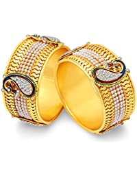 Shining Diva Gold Plated Traditional Jewellery Fancy Pearl Bangles For Women