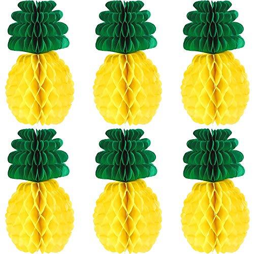 Mesigu 6pcs Ananas-Bienenwaben-Mittelstücke Seidenpapier-Ananas 12 Zoll-Partei-Versorgungsmaterial-Tabellen-hängende Dekoration Hauptfestival-Dekoration