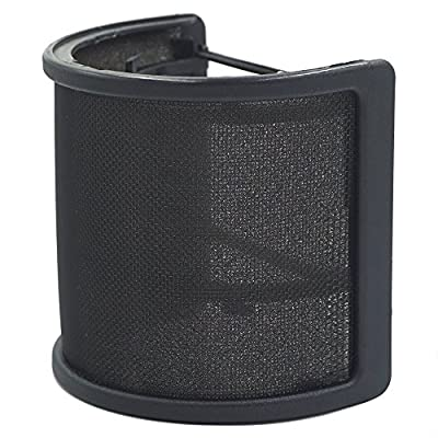 TiGree Metal Mesh and Foam Layer Mic Cover Handheld Microphone Pop Filter Windscreen Wind Screen Studio Shield Mount, Black