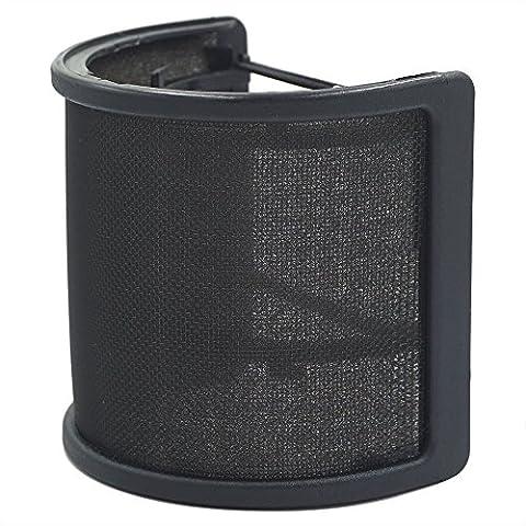 TiGree Microphone Filtres Anti-Pop Mic Vent Bruit l'Écran Filtre avec Couche de Mousse pour Studio d'Enregistrement, Noir