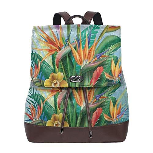 Women's Leather Backpack,Cattleya Exotic Flower Strelitzia Blossom Fan Palm Royal Fern Epic Gardening Art,School Travel Girls Ladies Rucksack -