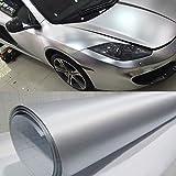 Hoho, pellicola adesiva per auto, effetto acciaio spazzolato, no bolle d'aria, dimensioni 152 cm x 50 cm