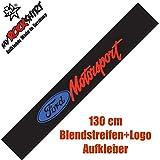 Frontscheibenaufkleber Ford Motorsport Blendstreifen + Logo Aufkleber Set `+ Bonus Testaufkleber