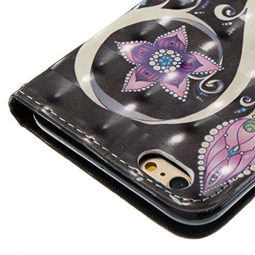 iPhone 6S plus Custodia Pelle, Cover per iPhone 6 plus Portafoglio, Ekakashop Diamante Strass Glitter Sparkle Blingbling Fashion Colorata 3D Painted Ragazza Fantasia Lusso Libro Wallet PU Leather Morb Fiore di pavone