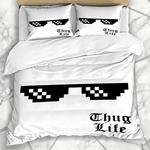 Bettbezug-Sets Spectacle Thug Pixel Brille White Life Meme Bit Sonnenbrille Deal 8Bit Design 8 Mikrofaserbettwäsche mit 2 Kissenbezügen
