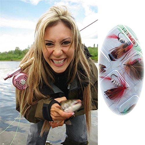 Xiaokesong® 12 pcs Schmetterling Design Einzelhaken Fischköder Fliegenfischen Tackle Forelle Lachs Fliegen Tackle Set