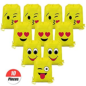 YuChiSX Emoji Bolsas de Cuerdas,10 Piezas Bolsa de Gimnasio Emoji,Emoji Mochilas Petates Infantiles para niños y niñas Cumpleaños Regalos Invitados de Bodas Comuniones