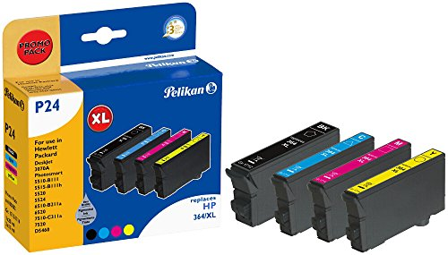 Pelikan P24 Druckerpatronen PromoPack (ersetzen HP 364XL CN684EE/CB323EE/CB324EE/CB325EE) schwarz, cyan, magenta, gelb - Pigment-inkjet-cyan