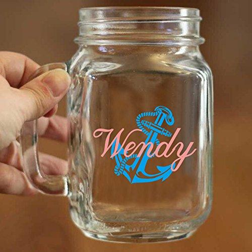 Custom Mason Jar Nautical Becher mit Namen blau Anker anrösten Brille Gläser Cup 16Oz Mason Gläser mit Griff für Trinken