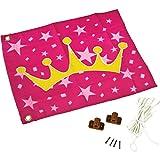 Fahne mit Hiss-System zur Anbringung an Spieltürmen, Klettertürmen, Stelzenhäusern oder anderen Spielanlagen (Rosa mit Prinzessinen Motiv)