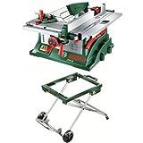 Bosch PTS 10 - Sierra circular de mesa en caja de cartón + Bosch 0.603.B05.300 Mesa de Trabajo para ingletadora, Aluminio, Verde, 595 mm