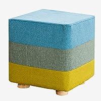 Preisvergleich für Fabric wooden stool Quadratische hölzerne Schemel Osmanen und Puffs ändern Schuhe Hocker Hohen Stuhl Stoff Sofa Bank Massivholz Hocker im Wohnzimmer Schlafzimmer Drei-Farben-Spleißen 25CMX25CMX28CM