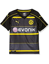 Puma BVB Borussia Dortmund Boys Away Replica Jersey, Children's, Trikot BVB Away Replica Shirt with Sponsor Logo, black-Cyber yellow