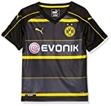 PUMA Kinder Trikot BVB Away Replica Shirt with Sponsor Logo, black-cyber yellow, 128, 749830 02