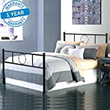 Aingoo Double Bed Frame Metal Platform Bed with Strong Metal Slats for Adults Children Kids, Black