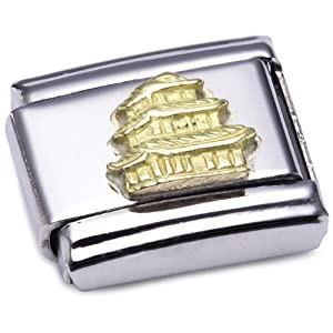Nomination Composable Classic Relief Monument Edelstahl und 18K-Gold (Pagode) 030123