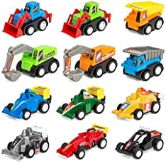 Amitasha Engineering Construction Vehicle Mini Dumper Excavator Truck Toy Set for Children (Car Set of 12)