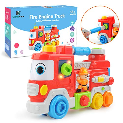 GizmoVine Kinderspielzeug 2 Jahr Feuerwehrauto lernspielzeug Bestes Spielzeug für Säugling Kind Baby Kleinkind (Spielzeug 2-jährigen Beste Für Jungen)