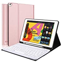 """iPad Keyboard Case for iPad 8th Gen (10.2 inch) - 7th Generation iPad - iPad Pro 10.5(Air 3), Magnetically Detachable Wireless Keyboard - Folio Cover for New iPad 10.2"""" Inch, Rose Gold"""