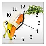 Glasuhr von DekoGlas 30x30cm quadratisch Bilderuhr aus Acrylglas mit lautlosem Quarzuhrwerk Dekouhr Glaswanduhr Uhr aus PMMA Wanduhren Küchenuhr Wanddekoration Glasbilder Möhren Banane orange