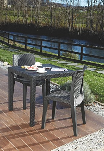 Kunststoff Gartentisch King anthrazit in Rattan Optik, 80 x 80 cm, von IPAE Progarden, Made IN Europe