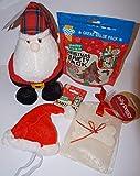 Paradise Pets CHRISTMAS DOG GIFT BOX WITH PLUSH SANTA 300G DELI VARIETY PACK XMAS HAT & CARD
