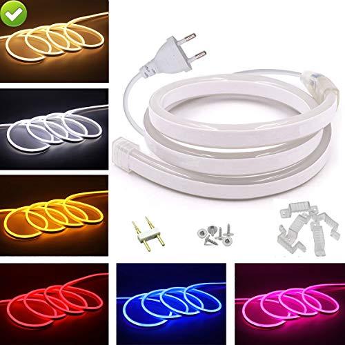 VAWAR 12m Neon Seil Strip - Warmweiß, doppelseitige LED flexibler Streifen ohne Lichtpunkte, 220V helle 2835 LED Band, IP65 wasserdichter Lichtschlauch für Garten Party Hochzeit Deko (Seil-beleuchtung 12 Meter)