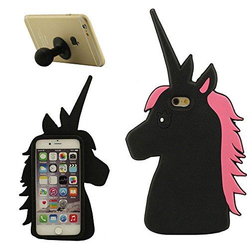 iPhone 6S Plus Coque Étui Anti Choc Joli 3D Chat noir Désign Populaire Doux Silicone Gel Coque Protection Case pour Apple iPhone 6 Plus 6S Plus 5.5 inch avec 1 Silicone Titulaire noir-1