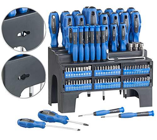 AGT Werkzeug: 101-teiliges Schraubendreher- und Bit-Set mit Wandhalterung (Magnet Schraubendreher Set)