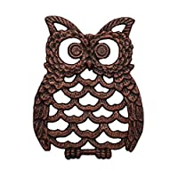 "Cast Iron Owl Trivet - Decorative Trivet For Kitchen Counter or Dining Table Vintage, Rustic, Artisan Design - 7.75X6"" - With Rubber Pegs/Feet - Recycled Metal"