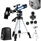 Aomekie Kids Telescopes for Astronomy Beginners Refractor Telescope with Adjustable Tripod 10X Phone Adapter Finderscope Moon Filter 3X Barlow Lens and Backpack