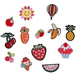 13pcs / set ricamato Frutta sorridente di Applique Cucire Ferro sul distintivo della zona del cappello sacchetto del panno DIY