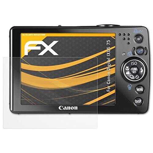 atFoliX Panzerfolie kompatibel mit Canon Digital IXUS 75 Schutzfolie, entspiegelnde und stoßdämpfende FX Folie (3X) Canon Ixus 75 Digital Kamera