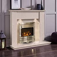 Cream Marble Stone Surround Electric Fireplace Suite Silver Electric Fire & Downlights