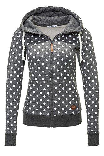 Hailys Damen Sweatjacke Hoodie Sweatshirt Kapuzenpullover (Grey Marl/White Dots, L) Hoody Mit Reißverschluss