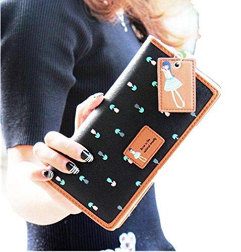 Ouneed® Damen Lange Geldbeutel Clutch Portemonnaie Zip-Beutel-Kartenhalter Brieftasche Geldbörse Handtasche (Schwarz)