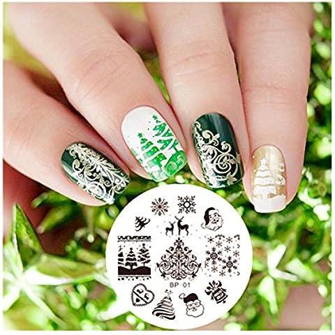 Plantilla Uñas Manicura Decoración Arte Placas de Sello Tema de la Navidad Christmas XMAS Theme Nail Art Stamp Template Image Plate BORN PRETTY BP01