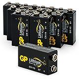 Batterien Lithium 9 Volt Block, U9VL, CR-9V, 6AM6, 10 Jahres Batterie Longlife, Markenware GP Batteries - ideal für z.B. Rauchmelder, Feuermelder, Messgeräte, Sicherheits-Technik, Mikrofone, E-Gitarren Pick-Up, medizinische Geräte, etc. (9V Lithium, 10 Stück im Multi-Sparpack)