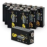 Batterien Lithium 9 Volt Block, U9VL, CR-9V, 6AM6, 10 Jahres Batterie Longlife (Markenware GP Batteries, 10 Stück)