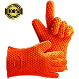Homar 3 Colors Heat Resistant BBQ Grilling Gloves Oven Mitten Set - Best in Protective Mitts & Potholders - Silicone Baking & Outdoor Cooking Gloves