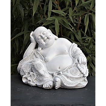 steinfigur buddha in antik weiss figur deko statue frostsicher f r haus und garten. Black Bedroom Furniture Sets. Home Design Ideas