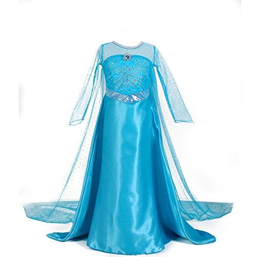 (ELSA Cape Luxury Frozen Dress Up Kleidung Für Kleine Mädchen ELSA Schneekönigin Anna Prinzessin Kostüme Geburtstagsfeier Kostüm Schneewittchen 3-12 Jahre Halloween Kostüm,M)