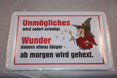 Unmögliches wird sofort erledigt... Hexe Hexen Blechschild 20x30 cm Funschild