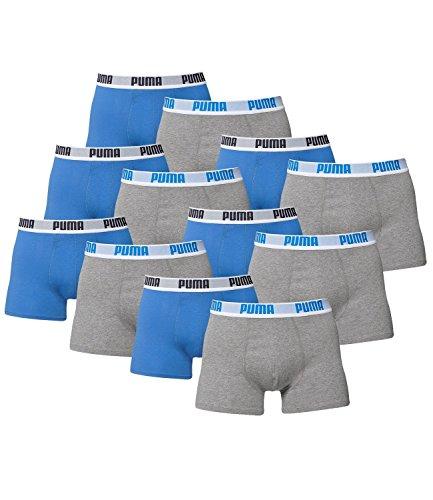 PUMA Herren Basic Boxer Boxershort Unterhose 12er Pack 417 - blue/grey