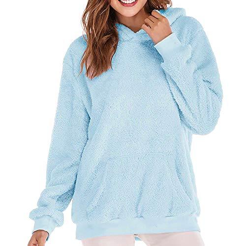 (iHENGH Vorweihnachtliche Karnevalsaktion Damen Warm bequem Winter Jacke mit Kapuze Sweatshirt Wolle Reißverschluss Taschen Baumwolle Parka Mantel Outwear(EU-50/CN-3XL,Hellblau))