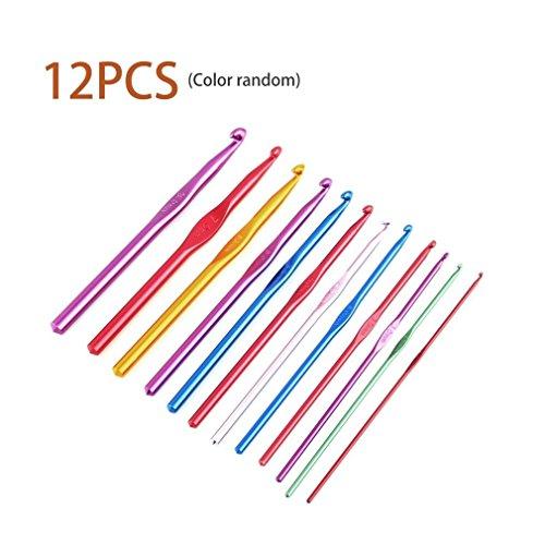 Juego de agujas de tejer de crochet de aluminio multicolor de 2 a 8 mm (12 unidades)