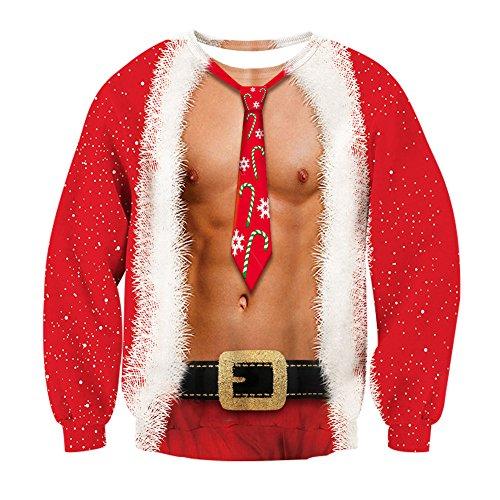 Leapparel Christmas Fake 2 Stücke Pullover Ladies und Women Lustig 3D Graphic Xmas Langarm Kostüm Rot L (Alter Mann Winter Kostüm)