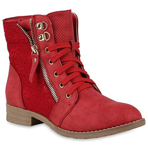 Stiefelparadies Stylische Damen Stiefeletten Worker Boots Spitze Knöchelhohe Stiefel Gesteppt Damen Leder-Optik Zipper Ketten Schuhe 146974 Rot 39 Flandell (Stiefel Gesteppte)